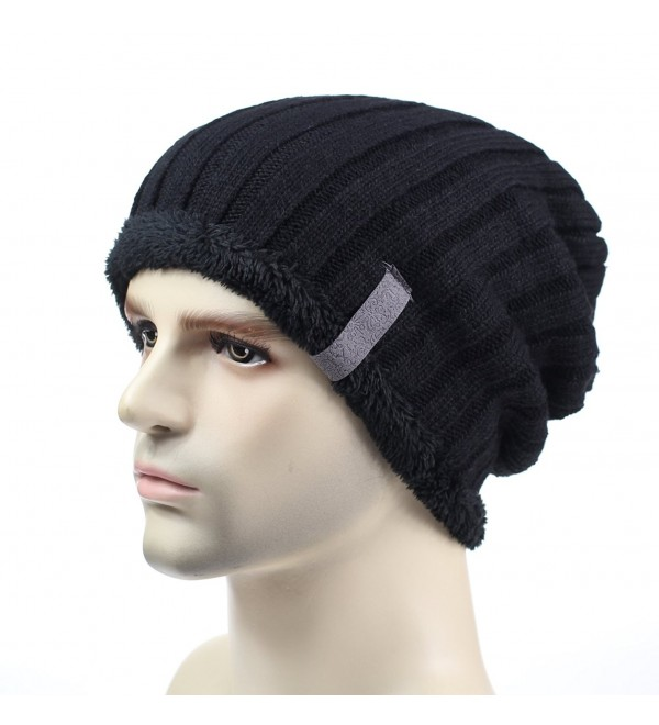 ac0ad32d1 Mens Winter Hats Thick Cuff Beanie Slouchy Knitted Hat Skull Caps Black  C612N8PC6G3