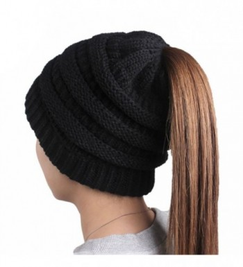JOOWEN Womens Winter Knitted Ponytail Beanie Solid Cable Messy Bun Ribbed Hat - Black - CX1885Q7HOC