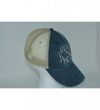 Marys Monograms Monogrammed Distressed Trucker in Women's Baseball Caps