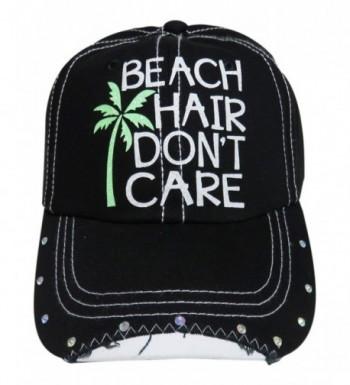 White Glitter Beach Hair Don't Care Black Baseball Cap w/Rhinestones - CG12GU4N4ZJ