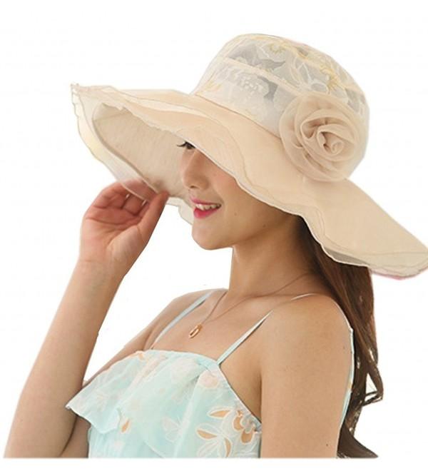 Nanxson(TM) Flower Garden Tea Party Holiday Fishing Beach Cap Summer Sun Hat Wide Brim Women - Beige - C017YX55T3X