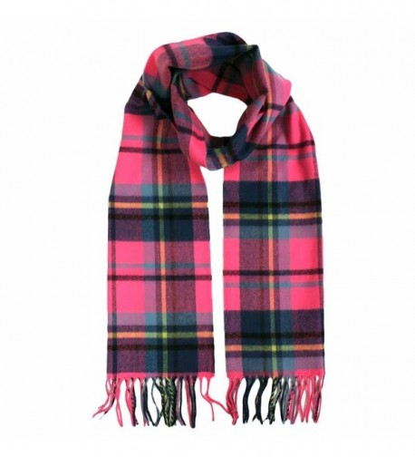 Pink & Blue Cashmere Feel Long Unisex Plaid Scarf - CL116QXMHF3