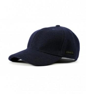 Filipacchi Vintage Style Wool Baseball Cap - Navy - CK17YHRO6E5