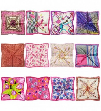 LilMents 12 Mixed Designs Small Square Satin Womens Neck Head Scarf Scarves Bundle Lot Set - Set F - C412IHC8MSB