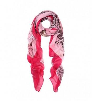 Premium Giraffe Animal Print Graphic Scarf - 2 Colors Avail (Black/White- Pink) - Pink - CE11GENYOVP