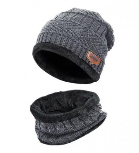 46a8daa2ffc Beanie Hat Scarf Set Thick Knit Hat Warm Fleece Lined Scarf Warm Winter Hat  For Men   Women Grey C6185XU4O84