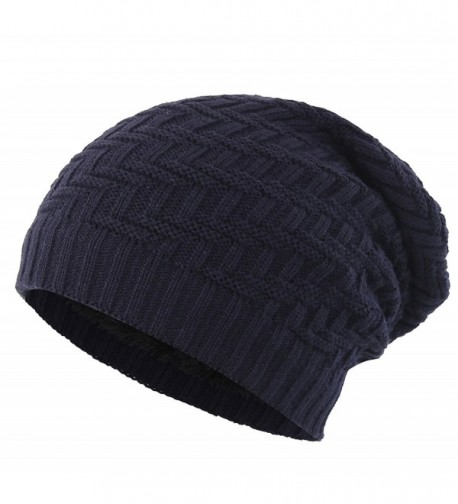 Connectyle Mens Thick Slouchy Knit Beanie Hat Lined Warm Winter Hats Watch Cap - Navy Blue - CN186UE5OCY
