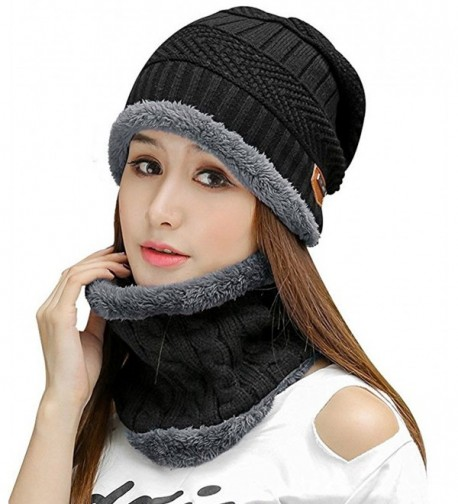 HindaWi Womens Slouchy Beanie Winter Hat Knit Warm Snow Ski Skull Cap - _Hat and Scarf(black) - CG186278NAH
