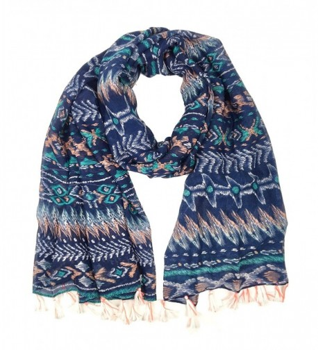Bruceriver Women's Lightweight Soft Touch Printed Scarf with Tassels - Navy - C112I68NT2Z