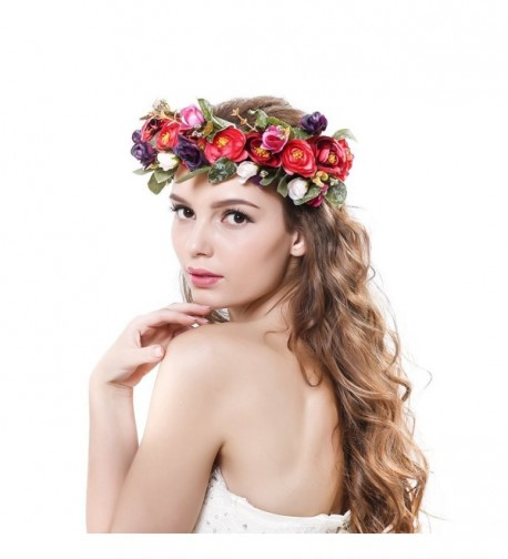 Ever Fairy Women Handmade Rose Flower Wreath Crown Wedding Festivals Garland Crown - Red - C112GKF3NAX