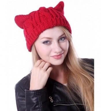 HDE Women's Knit Beanie Cat Ear Crochet Braided Winter Ski Hat Knitted Cap - Red - CG11IODSPCR