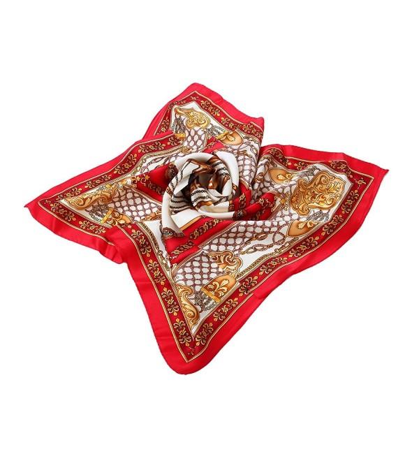"""Premium 100% Pure Silk Small Square Scarf 21"""" - Different Designs Available - Horse Red - CV1200VRV2F"""
