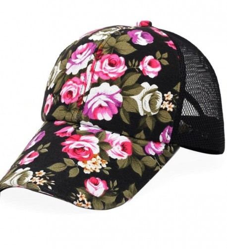 Voberry Womens Cotton Floral Baseball Cap Summer Meshy Snapback Cap Hat - Black - CJ12H5UZRJD