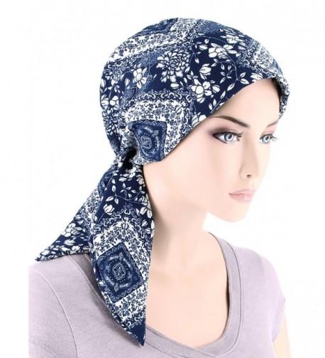 Fashion Turban Headwear Cancer Floral - 01- Navy Blue White Floral (Crepe Chiffon) - CL180ZZK27I