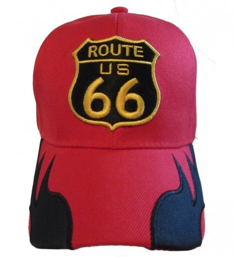 Historic Route 66 Mother Road Premium Hat - Baseball Cap - Red Side Flames - C611TG0NHEX