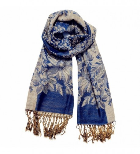 Women's Fashion Long Reversible 100% Pashmina Shawl Winter Warm Large Scarf - Navy Blue - CP12L19M0FD