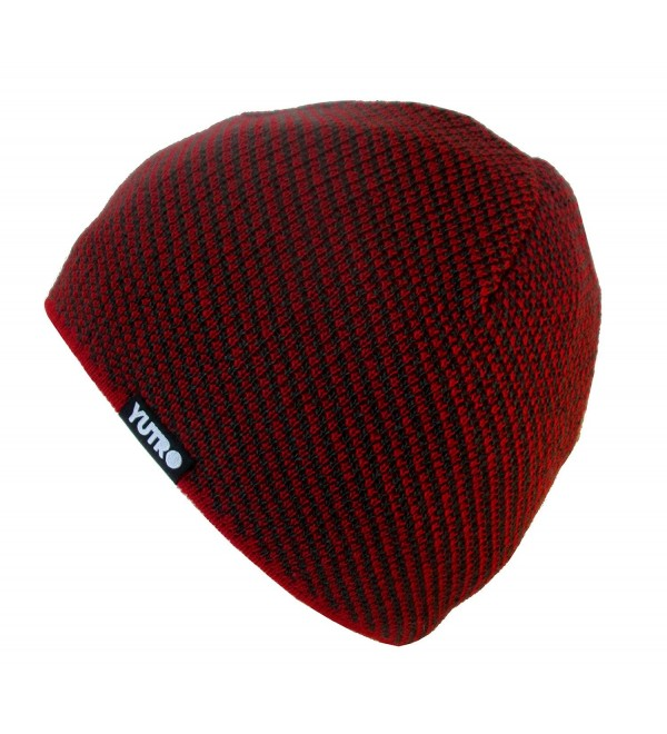 """YUTRO Fashion Wool Knit Fleece Lined Ski Beanie With """"No Wind"""" Insulation - Red/Charcoal - CV129D32R5R"""