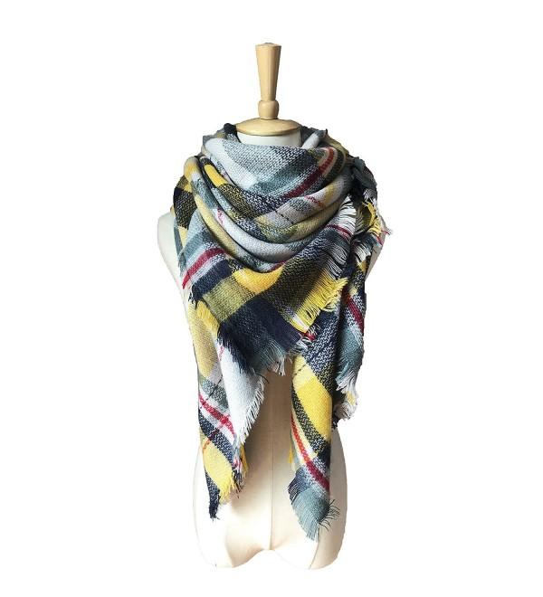 Synthiiz Soft Warm Tartan Plaid Scarf Shawl Cape Blanket Scarves Fashion Wrap - Green Yellow - CA185KAKHSM