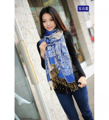 Reversible Paisley Pashmina Silky Blue in Women's Cold Weather Neck Gaiters