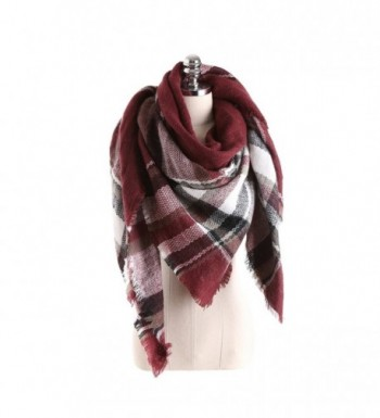Winter Women Oversize Tartan Blanket Scarf with Tassels - Burgundy - C3186S7EGCY