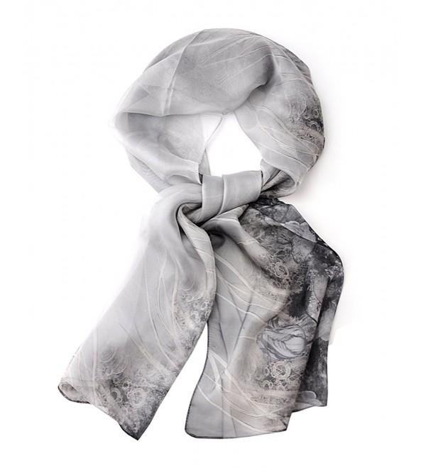 NYFASHION101 Women's Rose Garden See Through Print Elegant Scarf Shawl Wrap - Black/White - CY11WHUKBPH