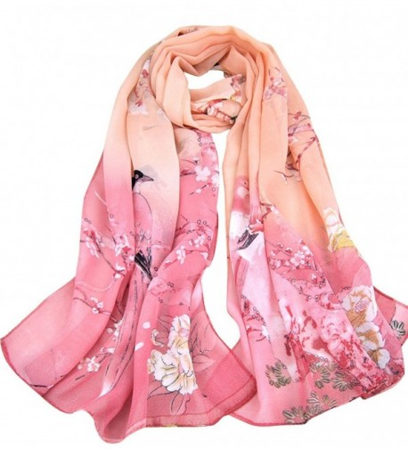 Aven Women Classic Chinese Style Painting Birds/Flowers Chiffon Long Scarf Shawl Wrap - Pink - CM11Y8YPSS5