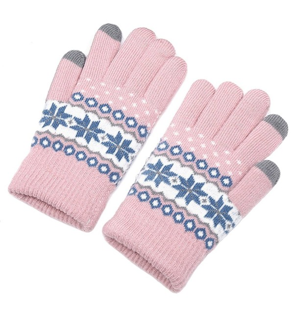 ChicPro Womens Touchscreen Texting Gloves Winter Warm Knit Thick Lined Gloves - Pink Snowflake - C0187D9Z2XT