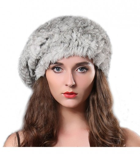 FURTALK Women Winter Fur Beret Hat - Rex Rabbit Fur Knitted Warm Cap Original - Grey - CV122V3G9W3