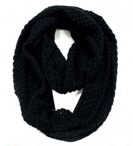Modadorn New Arrivals Winter Textured Solid Infinity Scarf - 01 Black - C611HL6WWM7