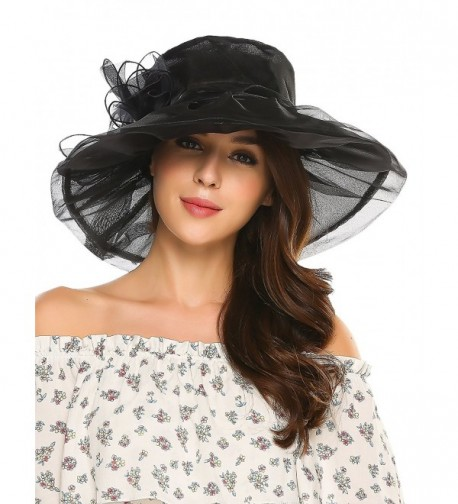 Zeagoo Women's Summer Organza Church Derby Fascinator Bridal Cap British Tea Party Wedding Sun Hats - Black - C3182AIC5TR