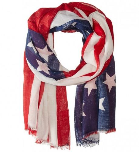 Saro Lifestyle Women's American Flag Design Scarf - Red - CE11ZCX7W7L