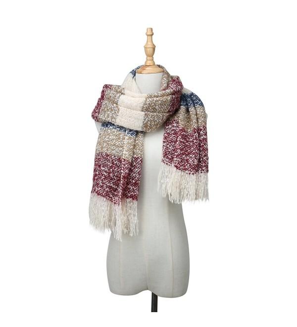 Womens Plaid Blanket Scarf Big Square Long Scarves Warm Tartan Wrap Shawl - Blue - CA1898T9GL4