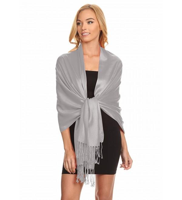 Simlu Womens Scarfs Silky Pashmina Shawl Wrap Scarves for Women Stole Shawls - Silver - C212MYBW0FL