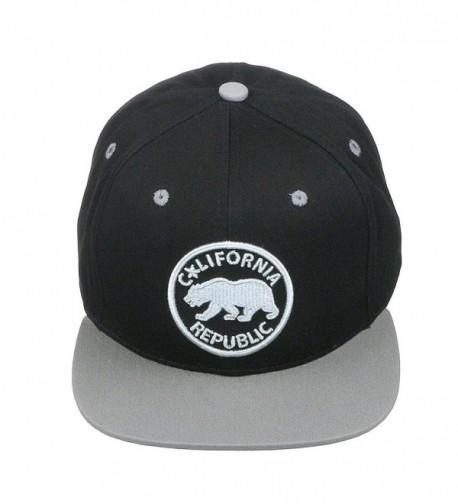 California Republic Bear Logo Flat Brim Adjustable Snapback Hat Cap - Black/Grey - CJ12D7JBG73