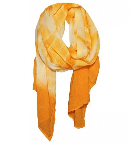Simplicity Womens Tie-Dye Print Sheer Scarf in Multi-Colors - Gold - C211VK5A57X