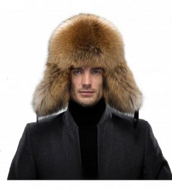 QUEENFUR Men's Fur Hat - Winter Real Raccoon Fur Cap Fox Fur Genuine Leather Russia Aviator Hats - A-raccoon Fur - C212MBDJGS7