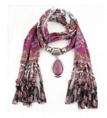 XUANOU Women Tassel Scarf With Elegant Rhinestone Pendant Scarves - CZ12N7F0CJ4