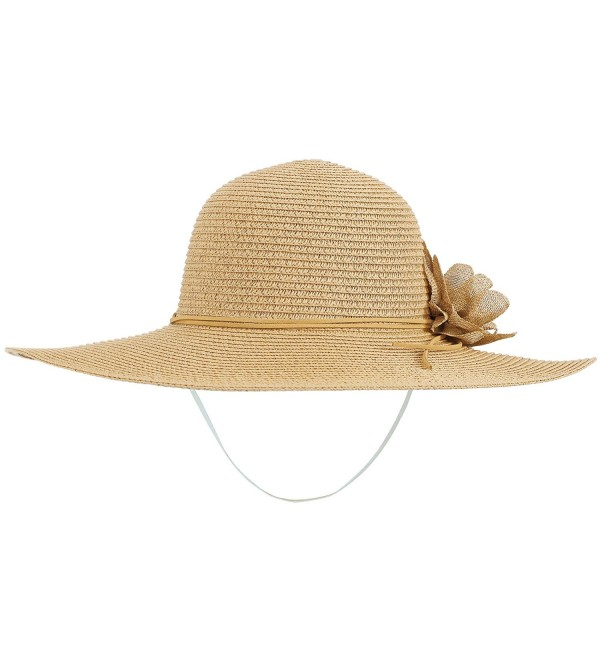 dc004abd ThunderCloud Women's Spring/Summer Wide Brim Straw Beach Hat w/Flower Décor  - Nature