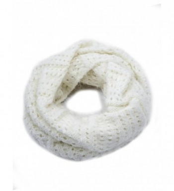 Dahlia Women's Knitted Loop Scarf - Eyelet: White - CN11PGBZP6T
