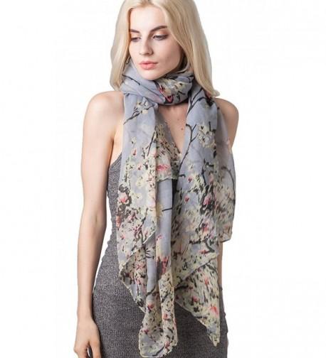 MissShorthair Women's Floral Birds Print Long Scarves Butterfly Scarfs Shawl Wrap - 2 Gray - CX12ODLUZDQ