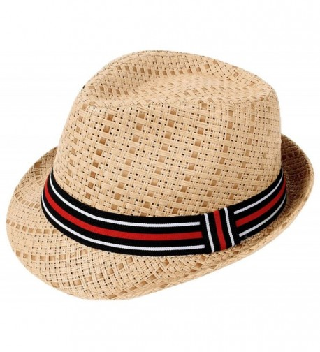 Livingston Unisex Lovely Two Toned Structured Summer Straw Fedora Hat - Brown Hat/Stripe Band - CD189ZK0D8X