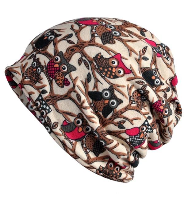 Kuyou Women's Multifunction Hat owl Skull Cap scarf (Beige Plus cashmere) - CS1889EWRXX