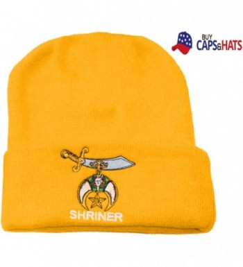 Shriner Skull Cap Gold Cuffed Winter Ski Hat Skully Assoc. with Masons - C0120FFWSFV