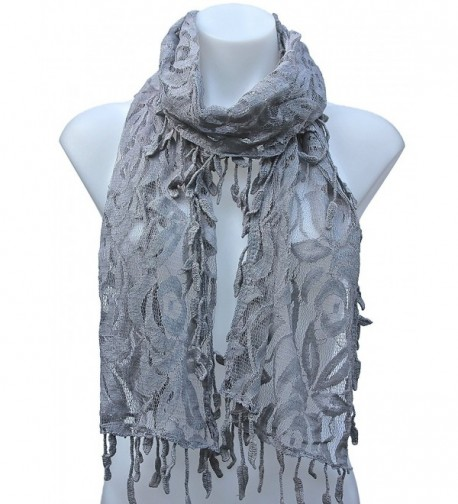 Terra Nomad Women's/Girls Long Sheer Floral Lace Scarf - Gray - CB110FUEXY1