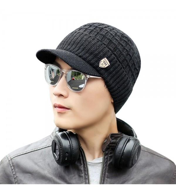 Men Wool Knit Ski Beanie-Winter Baggy Hat Wool Skull Weave Crochet Caps - Black - CI188WDLILL