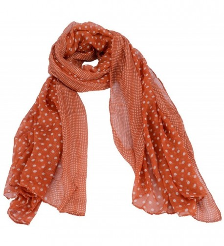 Simplicity Elegant Voile Scarf with Large & Small Polka Dot Detail- Wrap/ Shawl - Orange - CC11HUED7FV