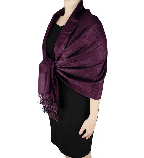 Peach Couture Double Layer Hues of Purple Jacquard Paisley Pashmina Feel Shawl - Wine Reversible - CR12D75FPPB
