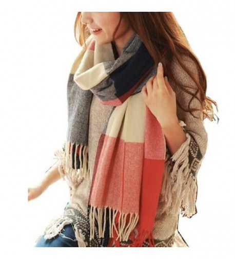 Women's Long Shawl Grid Winter Warm Lattice Large Scarf Pashmina Tartan Wrap - 1 - C4126KIYYRH