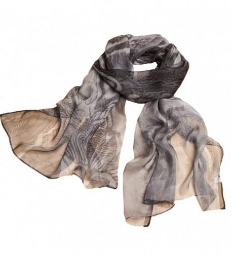 Ysiop Womens 100% Silk Scarves Lightweight Sunscreen Shawls and Beach Wraps - Black 2 - CM17YL5E7D0