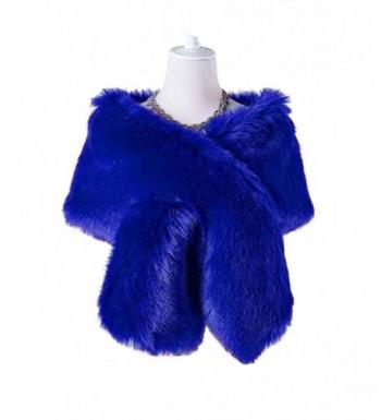 Changuan Women's Winter Fake Faux Fur Scarf Wrap Collar for Wedding Bridal Evening Shawl - Royal Blue - CZ189SAIQHK